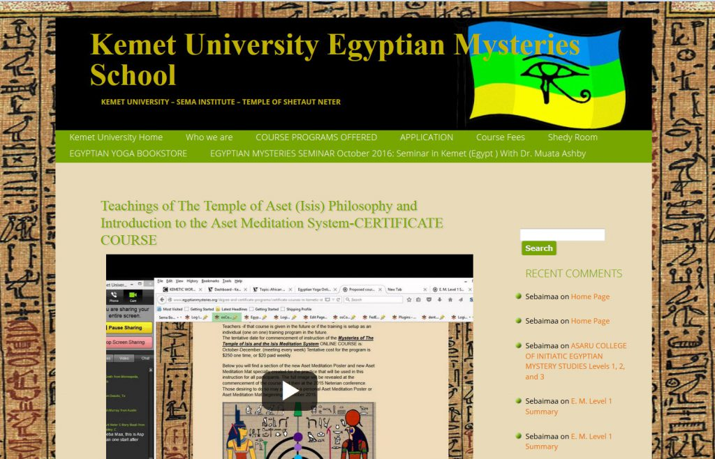 Egyptian Mystery SChool Temple of Aset Course page