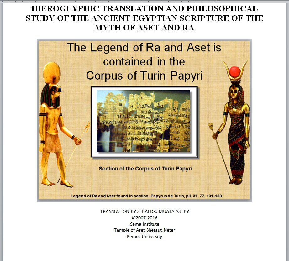 Teachings of Temple of Aset book front page for course promo